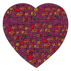 Happy Mothers Day Text Tiling Pattern Jigsaw Puzzle (Heart)