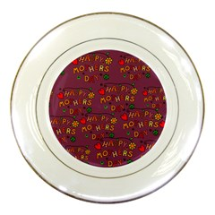 Happy Mothers Day Text Tiling Pattern Porcelain Plates