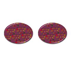 Happy Mothers Day Text Tiling Pattern Cufflinks (Oval)
