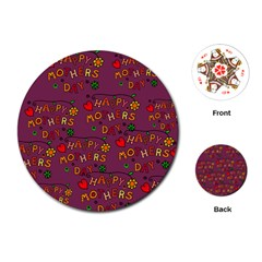Happy Mothers Day Text Tiling Pattern Playing Cards (Round)