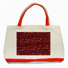 Happy Mothers Day Text Tiling Pattern Classic Tote Bag (Red)