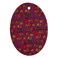 Happy Mothers Day Text Tiling Pattern Oval Ornament (Two Sides)