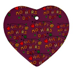Happy Mothers Day Text Tiling Pattern Heart Ornament (Two Sides)