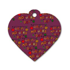 Happy Mothers Day Text Tiling Pattern Dog Tag Heart (One Side)