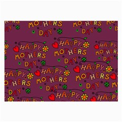Happy Mothers Day Text Tiling Pattern Large Glasses Cloth (2 Side)