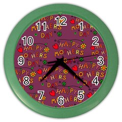 Happy Mothers Day Text Tiling Pattern Color Wall Clocks