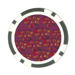 Happy Mothers Day Text Tiling Pattern Poker Chip Card Guard