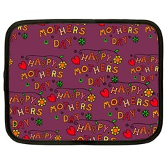 Happy Mothers Day Text Tiling Pattern Netbook Case (Large)