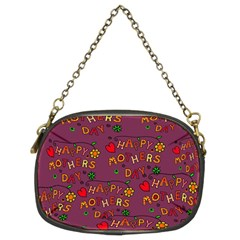 Happy Mothers Day Text Tiling Pattern Chain Purses (Two Sides)