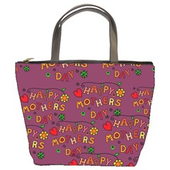 Happy Mothers Day Text Tiling Pattern Bucket Bags