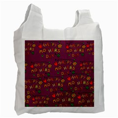 Happy Mothers Day Text Tiling Pattern Recycle Bag (Two Side)