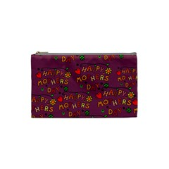 Happy Mothers Day Text Tiling Pattern Cosmetic Bag (Small)