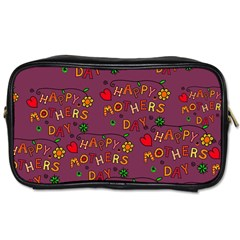 Happy Mothers Day Text Tiling Pattern Toiletries Bags 2-Side