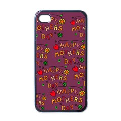 Happy Mothers Day Text Tiling Pattern Apple iPhone 4 Case (Black)