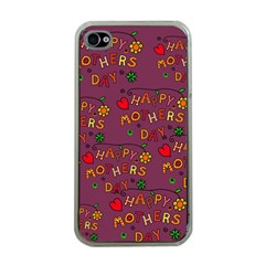 Happy Mothers Day Text Tiling Pattern Apple iPhone 4 Case (Clear)
