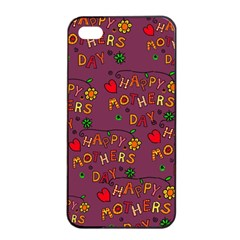 Happy Mothers Day Text Tiling Pattern Apple iPhone 4/4s Seamless Case (Black)