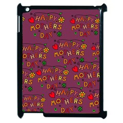 Happy Mothers Day Text Tiling Pattern Apple iPad 2 Case (Black)