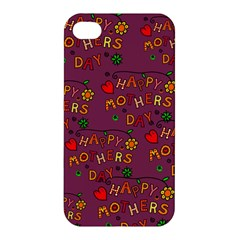 Happy Mothers Day Text Tiling Pattern Apple Iphone 4/4s Premium Hardshell Case