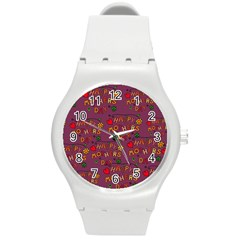 Happy Mothers Day Text Tiling Pattern Round Plastic Sport Watch (m)