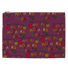 Happy Mothers Day Text Tiling Pattern Cosmetic Bag (xxl)