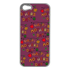 Happy Mothers Day Text Tiling Pattern Apple Iphone 5 Case (silver)