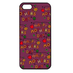 Happy Mothers Day Text Tiling Pattern Apple iPhone 5 Seamless Case (Black)