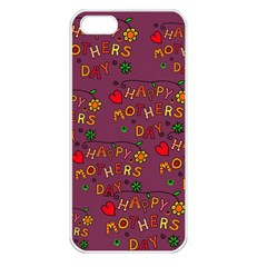 Happy Mothers Day Text Tiling Pattern Apple iPhone 5 Seamless Case (White)