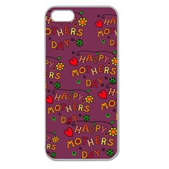 Happy Mothers Day Text Tiling Pattern Apple Seamless iPhone 5 Case (Clear)