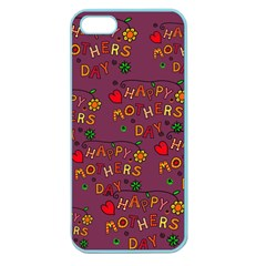 Happy Mothers Day Text Tiling Pattern Apple Seamless iPhone 5 Case (Color)