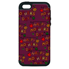 Happy Mothers Day Text Tiling Pattern Apple iPhone 5 Hardshell Case (PC+Silicone)