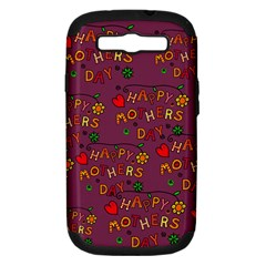 Happy Mothers Day Text Tiling Pattern Samsung Galaxy S Iii Hardshell Case (pc+silicone)