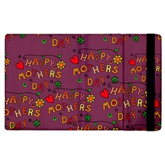 Happy Mothers Day Text Tiling Pattern Apple iPad 2 Flip Case