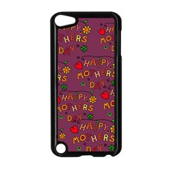 Happy Mothers Day Text Tiling Pattern Apple iPod Touch 5 Case (Black)