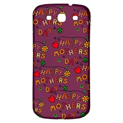 Happy Mothers Day Text Tiling Pattern Samsung Galaxy S3 S Iii Classic Hardshell Back Case