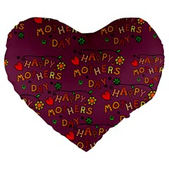 Happy Mothers Day Text Tiling Pattern Large 19  Premium Heart Shape Cushions