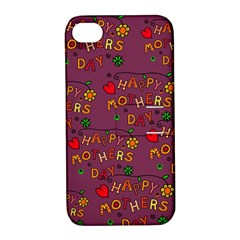 Happy Mothers Day Text Tiling Pattern Apple Iphone 4/4s Hardshell Case With Stand
