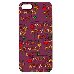 Happy Mothers Day Text Tiling Pattern Apple Iphone 5 Hardshell Case With Stand