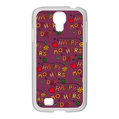 Happy Mothers Day Text Tiling Pattern Samsung GALAXY S4 I9500/ I9505 Case (White)