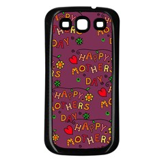 Happy Mothers Day Text Tiling Pattern Samsung Galaxy S3 Back Case (Black)