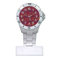 Happy Mothers Day Text Tiling Pattern Plastic Nurses Watch