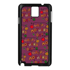 Happy Mothers Day Text Tiling Pattern Samsung Galaxy Note 3 N9005 Case (Black)