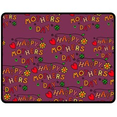 Happy Mothers Day Text Tiling Pattern Double Sided Fleece Blanket (Medium)
