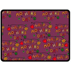 Happy Mothers Day Text Tiling Pattern Double Sided Fleece Blanket (large)