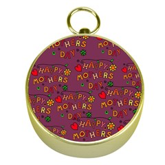 Happy Mothers Day Text Tiling Pattern Gold Compasses