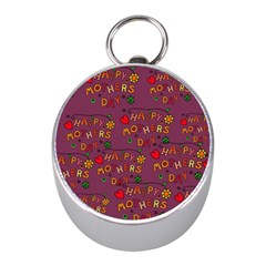 Happy Mothers Day Text Tiling Pattern Mini Silver Compasses