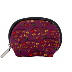 Happy Mothers Day Text Tiling Pattern Accessory Pouches (small)