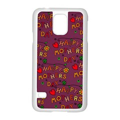 Happy Mothers Day Text Tiling Pattern Samsung Galaxy S5 Case (white)