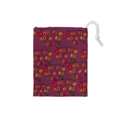 Happy Mothers Day Text Tiling Pattern Drawstring Pouches (Small)