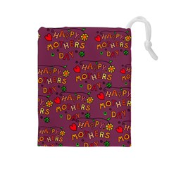 Happy Mothers Day Text Tiling Pattern Drawstring Pouches (Large)