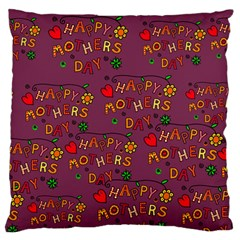 Happy Mothers Day Text Tiling Pattern Large Flano Cushion Case (One Side)